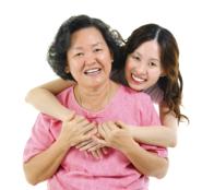 Female hugging patient